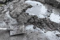 铁锹和水泥混凝土