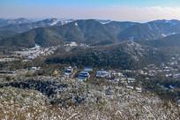 雪后杭州建筑俯拍