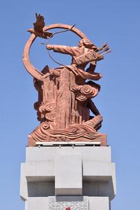 海东青与人狩猎雕塑