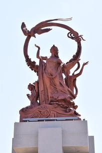满族三仙女凤凰雕塑