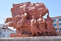 清朝骑兵雕塑