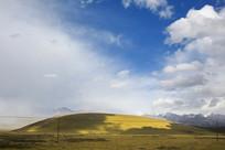 蓝天下的祁连山草坡