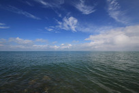青海湖平静宽广的湖面