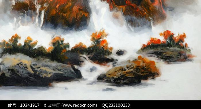 新中式风格水墨壁画图片