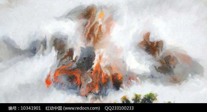 新中式风格水墨山水风景壁画图片