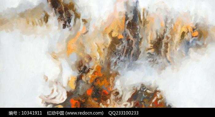 中式风格水墨山水风景壁画图片