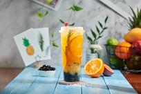 鲜橙百香水果茶