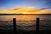 茶卡盐湖晚霞日落美景