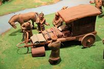 丝绸之路西域商人马车泥塑
