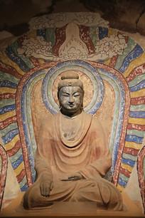 彩绘菩萨坐像