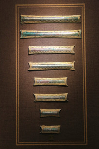 战国包金条形铜车饰