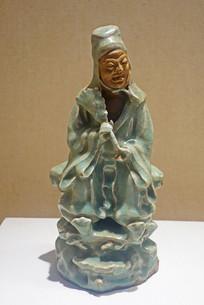 明代龙泉窑青瓷人物塑像