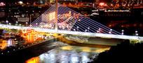 灯光璀璨的泸水市通达桥夜景