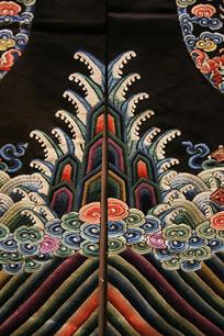 龙袍山海对襟刺绣