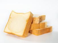 美味的面包吐司片白色背景图