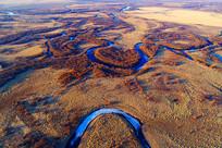 海拉尔河湿地河湾(航拍)