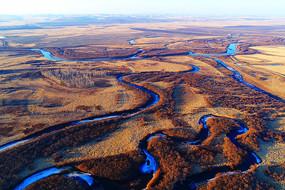 海拉尔河湿地河湾早春风景