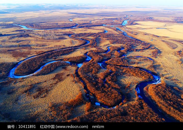 航拍海拉尔河湿地河湾 图片