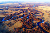 航拍海拉尔河湿地河湾