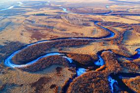 航拍早春的海拉尔河