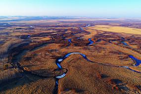 航拍早春海拉尔河湿地河湾