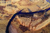 呼伦贝尔弯曲河流景观(航拍)