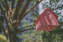 挂在树枝上的小房子吊灯