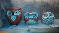 三只小猫头鹰雕塑装饰
