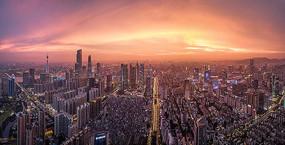 晚霞下的广州