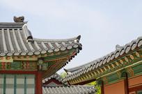 韩国景福宫屋顶画梁雕栋