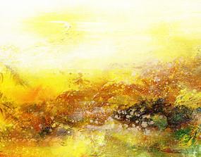 现代黄色调抽象画