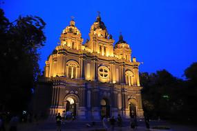 王府井教堂夜景