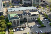 韩国水原市城市街景俯拍