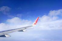 蓝天白云和飞机机翼