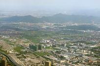 航拍杭州萧山区城市风光