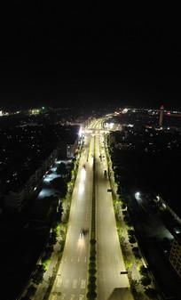 航拍桂林环城路街道夜景车流