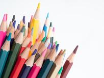 彩色铅笔笔尖创意特写