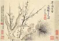 清代恽寿平瓯香馆写生图册梅花松树