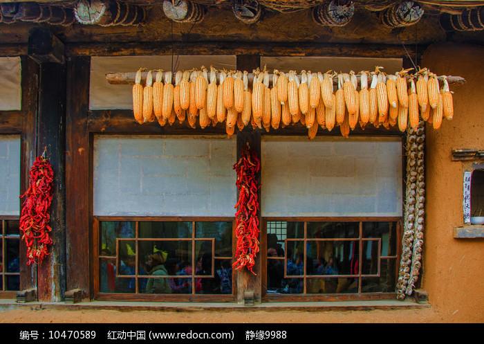 屋檐下的玉米棒子与辣椒大蒜辫图片
