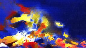 蓝色调高雅抽象油画
