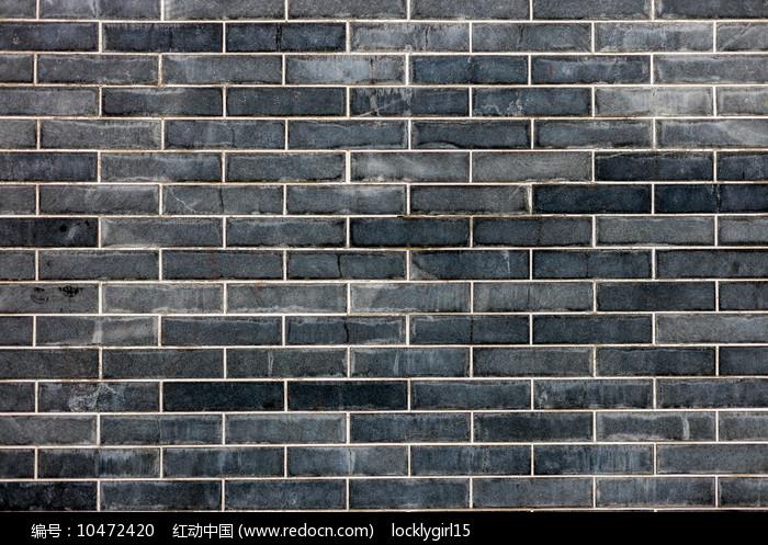 青灰色砖墙图片