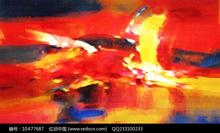 红红火火抽象艺术壁画图片