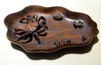 清代红木雕荷花蟹虫笔洗