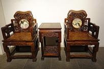 清代嵌大理石红木太师椅、茶几