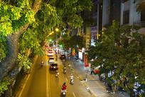 河内市城市和道路交通景俯拍