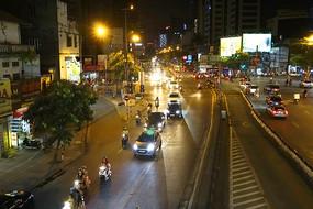 越南河内市城市夜景俯拍