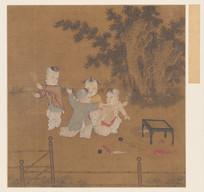 宋代佚名小庭戏婴图