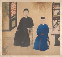 清代佚名肖像册女性坐像