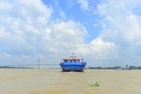 越南前江省九龙江上的货船