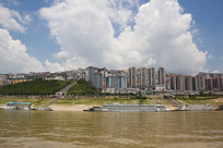 三峡水库蓄水后的巫山县城